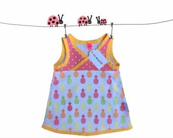 baby pineapple tunic dress, dress 9 Mo white, baby summer dress apricot, yellow baby dress, baby girl dress, summer dress, coral baby dress