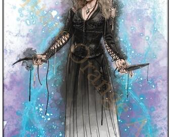 Helena Bonham Carter Bellatrix Lestrange Splash Style A4 Limited Edition Original Harry Potter Print