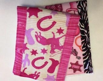 Western girl themed burp cloths, baby gift, under 20 dollars, set of two