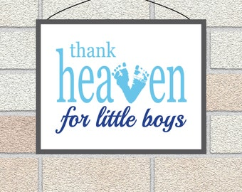 Baby Footprint Gift, Thank Heaven for Little Boys PRINTABLE, Baby Boy Baptism Gift, Personalized Nursery Art, Personalized Baby Shower gift