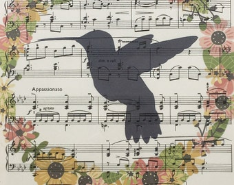 Vintage Music Sheet Floral Bird Print & Frame