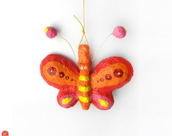 Butterfly Wall Decor, Paper Mache Butterfly, Hanging Butterfly, Butterfly Nursery, Butterfly Wall Art, Butterfly Kids Decor, Nursery Decor