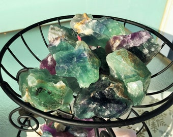 Large Rainbow Fluorite Green/Purple Healing Crystal Stones Perfect for Crystal Grid, Jewelry Supplies