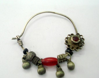 vintage antique tribal old silver nose ring nose ornament nath indian nose ring