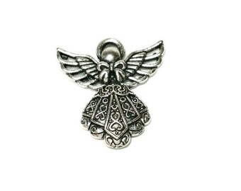 10 Large Angel Pendants Charms Antique Silver 42mm x 39mm, 7779, 709, 361a