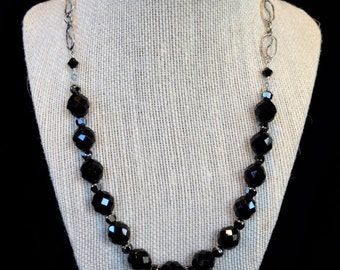 Black Crystal and Cathedral Glass Necklace, Black Crystal Necklace, Black Cathedral Glass Necklace, Black Glass Necklace