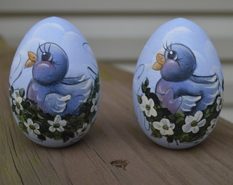 Hand Painted Blue Bird Egg, Blue Bird Egg, Easter Egg, Blue Bird, Wooden Egg, Easter Gift, Personalized Easter Egg, Personalized Egg