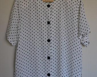 Vintage Blouse Black & White Polka Dots Short Sleeved Shoulder Pads