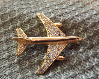 Golden Jetliner Brooch with Sparkly Rinestones