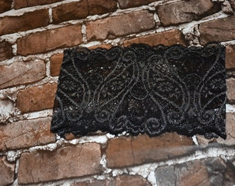 Black and Silver Wide  Lace Headband
