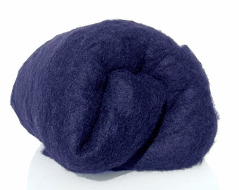 Wool batt for Needle felting and Wet Felting. Carded wool.  Strong and stable fiber. Clear night blue