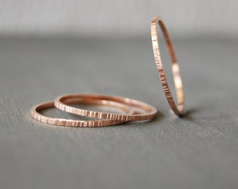 Rose Gold Filled Stacking Rings, Small Stacking Rings, Birch Bark Stacking Rings, Stacking Rings, Rose Gold Rings, Simple Rings