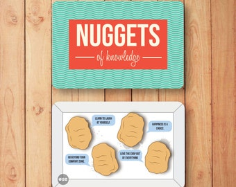 Encouragement Cards, birthday card, cute card, chicken nuggets, Nuggets of Knowledge