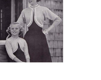 Instant PDF Download Vintage Knitting Pattern to make An EASY One Piece Mother Daughter Long Sleeve Shrug Bolero Jacket Sweater