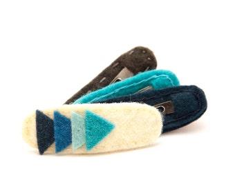 Arrow Hair Clip Cream/Blue Ombre, Wool Felt Hair Clip, Toddler Hair Clip, Simple Hair Clip, Modern Hair Clip, Barrette, kids