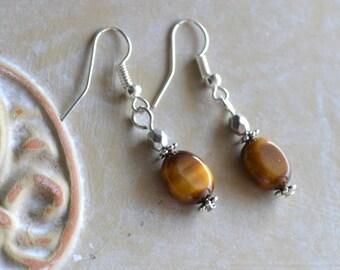 50% Sale - Tiger Eye Earrings, Silver, Gemstone, Drop, Dangle Earrings (E113)