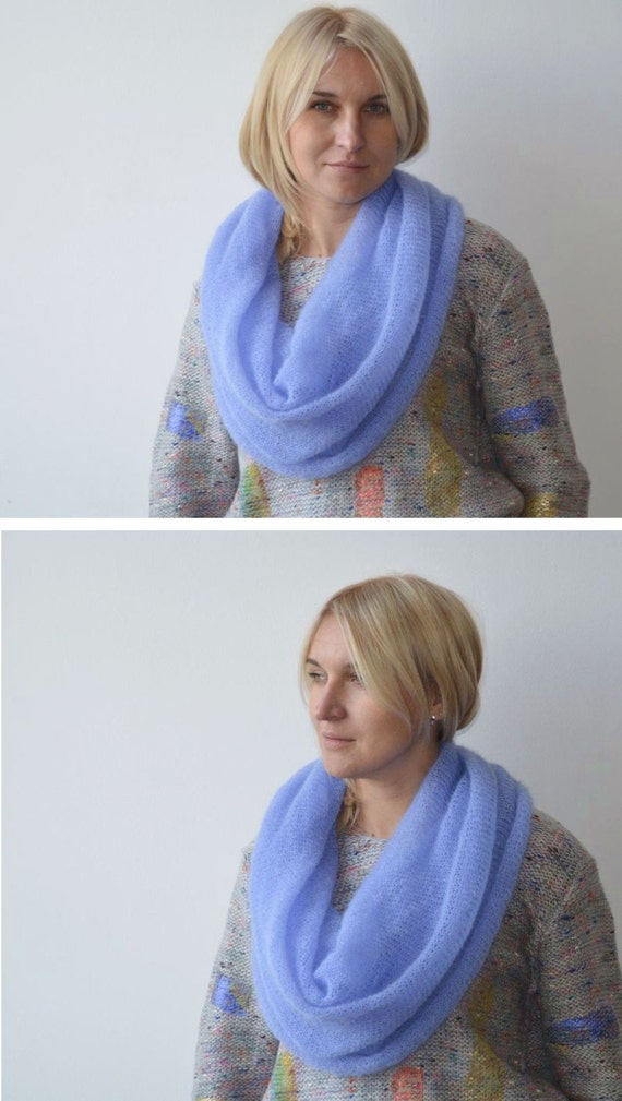 Infinity Scarf Knitting Pattern Mohair : Blue cowl infinity scarf knit mohair scarf blue by TaramayKnit