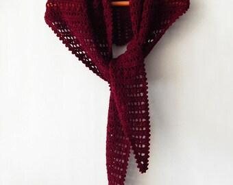 Crochet burgundy shawl marsala lace shawl, crochet winter wrap, maroon shawl, small shawl, crochet baktus scarf, gift for her