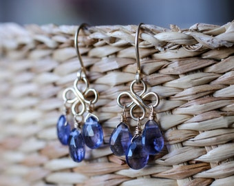 Iolite Earrings, Water Sapphire Chandelier Earrings, September Birthstone Jewelry, gift ideas, 14k Rose/ Yellow Gold Fill/ Sterling Silver