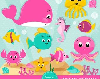 Ocean clipart, Sea animals clipart, Sea creatures, Marine life clipart, Ocean animals, Whale clipart - CA438