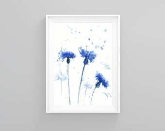 Watercolor Painting - Cornflower watercolor - Blue Watercolor Flower Print - Flower Wall Decor - Cornflower Poster Giclee wall print