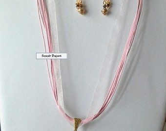 Pink bead ribbon necklace and earrings set