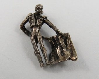 Matador With Cape Sterling Silver Charm or Pendant.