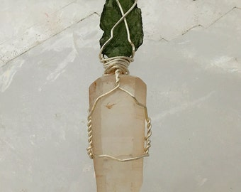 Lemurian Seed Crystal with Moldavite Pendant | New Age Favorite