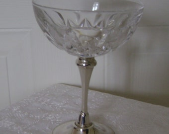 Pressed glass goblet with silver-plated stem. Ideal for bonbons or a floral table arrangement.