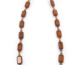 "16"" Amber-toned Glass Beads Necklace with Diamond-shaped Swarovski Crystal Beads"