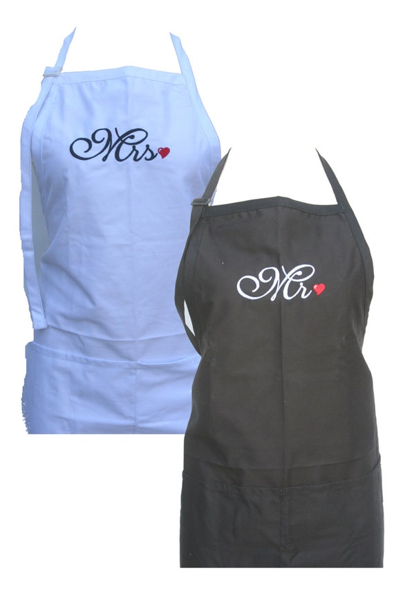 Mr & Mrs. in Script with Heart (Set of Adult Aprons for the Bridal Couple)