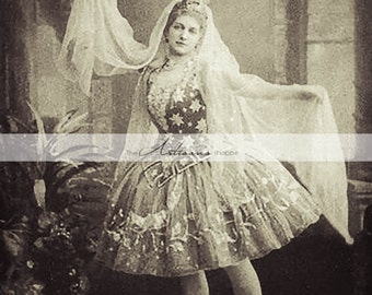Printable Instant Download - Antique Ballet Dancer Photograph - Paper Crafts Scrapbooking Altered Art - Ballerina Dance Portrait Photograph