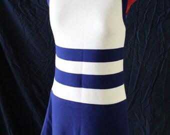 Vintage 1960's Mod Mini-Dress/Sleeveless/Striped/Multi-color/Size Small to Medium/Zipper Back/Blue/Off-White/Crew Neck/Summer/Event/Wedding