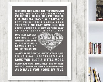 Aerosmith Love In An Elevator Music Song Lyrics Word Art Print Poster Heart Design Wall