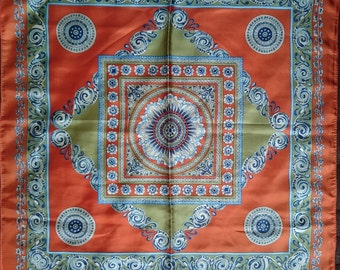 Vintage Square Polyester Scarf - Geometric and Paisley Type Design - Orange, Green, Blue and Cream - Unused and Perfect From 1970s Stock