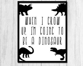 Dinosaur Wall Art Printable Art Black and White 8x10 Print Dinosaurs Digital Download Dinosaur Wall Art Kids Birthday Black and White Art