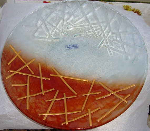 Crackeled Handmade Fused Glass Plate, Vintage Caramel & Clear Round Serving Platter, Decorative Plate, Housewarming Gift, Fused Glass Tray