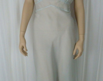 40's Pale Blue Night Gown - Satin Floral Applique - Bias Cut - Sheer Soft Nylon - 36