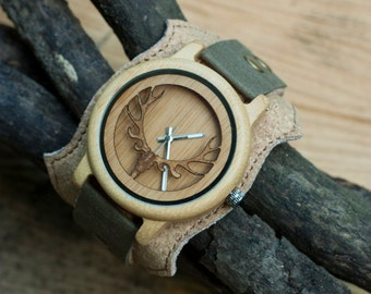 Wooden watch for men, vegan leather strap, vegan leather jewelry bracelet, eco leather, wooden watch women, wooden wrist watch, cork fabric