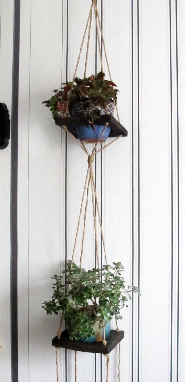 Rustic Plant Hanging Shelves Bohemian Macrame Hanging By