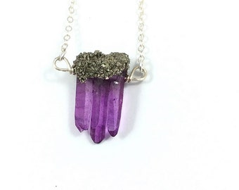 Purple Quartz Necklace- Raw Crystal Necklace- Quartz Point Pendant- Purple Stone Necklace- Small Crystal Point Necklace Sterling Silver