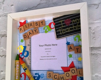 First Day at School Photo Frame, scrabble tiles, letters, numbers, ruler, crayons, primary, nursery, class, shadowbox deep frame