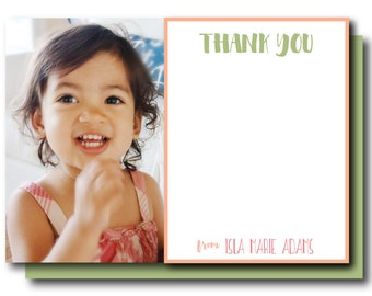 Peach Thank You Stationery, Printable Pink and Green Thank (Peach Thank You, Peach Monogram, Peach stand Birthday)