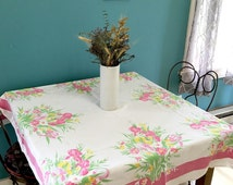 Vintage Tablecloth, Pink Floral Tablecloth, 1960s kitchen