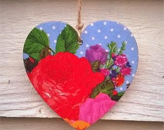 Hanging Heart, Floral Heart, Wooden Heart, Decoupage Heart, Vintage Style