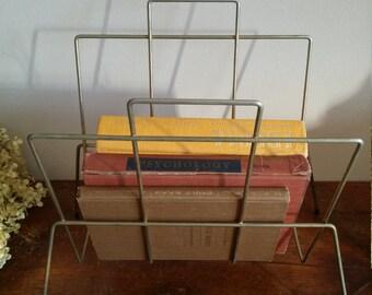 Vintage Magazine or Book Holder, Storage, Magazine Holder, Home Decor, Mid Century,Retro, Brass Holder, Magazine Rack, Rack, Holder, Shelves