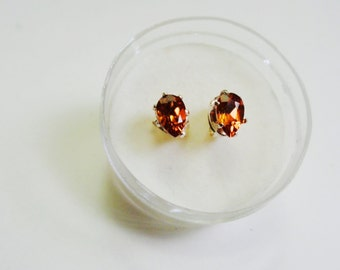 Natural 5 x 3 mm. Pear Spessartite Silver Stud Earrings.