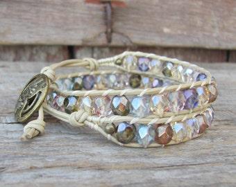 Double wrap beaded wrap bracelet, boho wrap bracelet