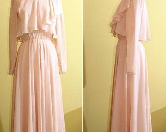 Ursula of Switzerland Vintage Light Pink Wedding/Bride's Maid Dress, Small