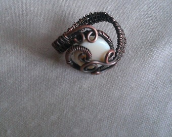 copper ring , wire wrapped copper ring, handmade copper ring , handmade jewelry
